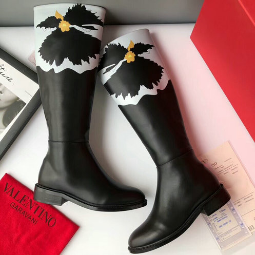 2018 F/W Valentino Flower Motif Knee High Boot in Black Leather