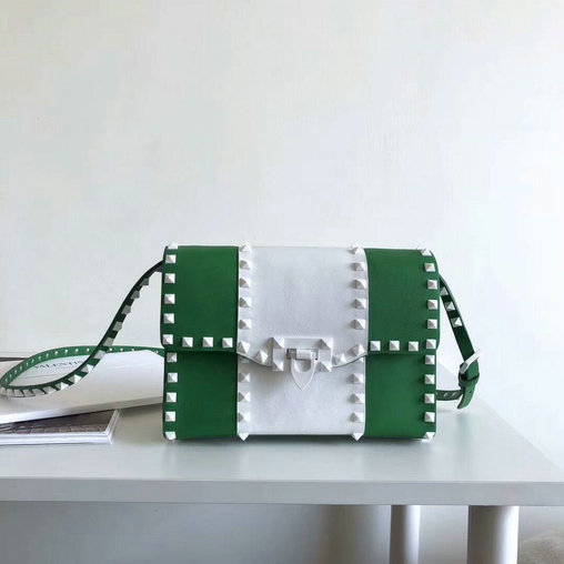 2018 S/S Valentino Free Rockstud Small Shoulder Bag in Green+White Leather