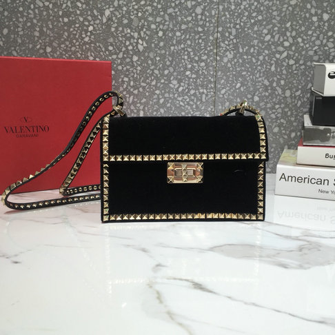 d3420de8fa8 2018 New Valentino Rockstud No Limit Cross Body Bag in Black Velvet and  Leather larger image