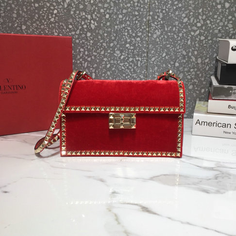 2018 New Valentino Rockstud No Limit Cross Body Bag in Velvet and Leather