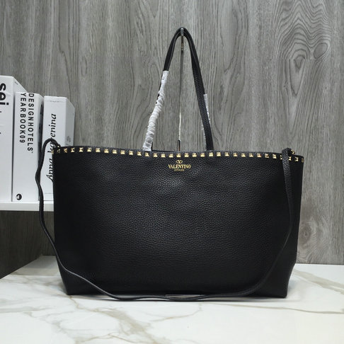 2018 New Valentino Rockstud Shopper Tote Bag in Black Leather