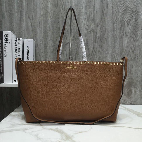 2018 New Valentino Rockstud Shopper Tote Bag in Brown Leather