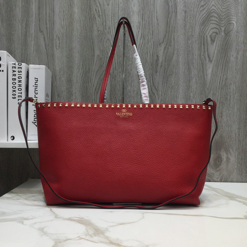 2018 New Valentino Rockstud Shopper Tote Bag in Red Calfskin Leather