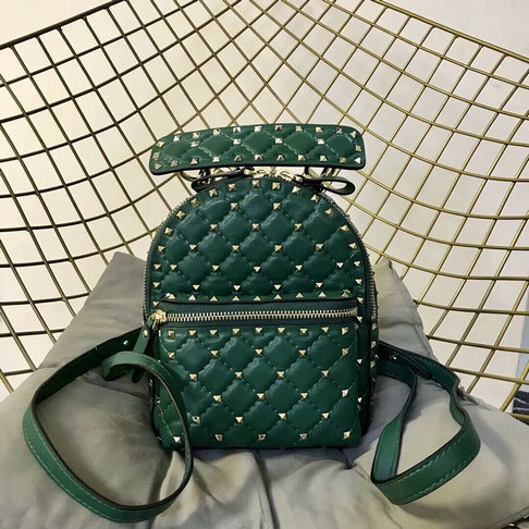 2018 S/S Valentino Rockstud Spike Mini Backpack in Green Lambskin Leather
