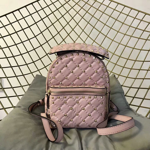 2018 S/S Valentino Rockstud Spike Mini Backpack in Pink Lambskin Leather