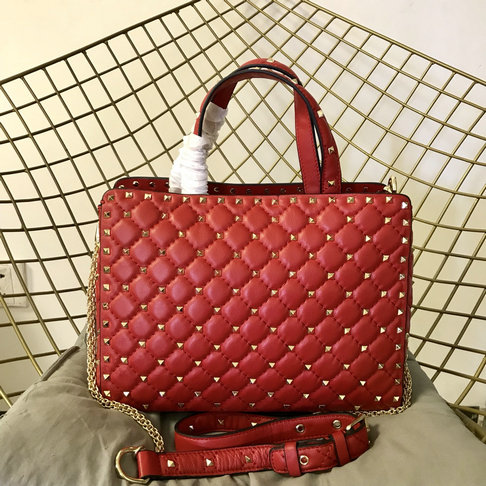 2018 S/S Valentino Rockstud Spike Tote Bag in Red Lambskin Leather