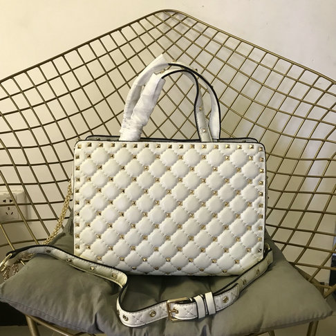 2018 S/S Valentino Rockstud Spike Tote Bag in White Lambskin Leather