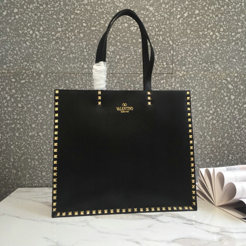 2018 Spring/Summer Valentino Shopping Tote Bag in black calf leather