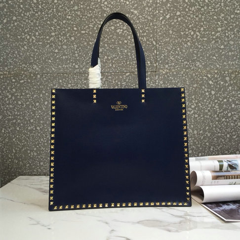 2018 Spring/Summer Valentino Shopping Tote Bag in dark blue calf leather
