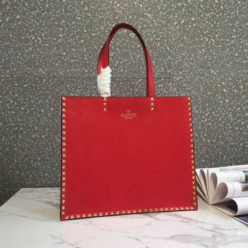2018 Spring/Summer Valentino Shopping Tote Bag in red calf leather