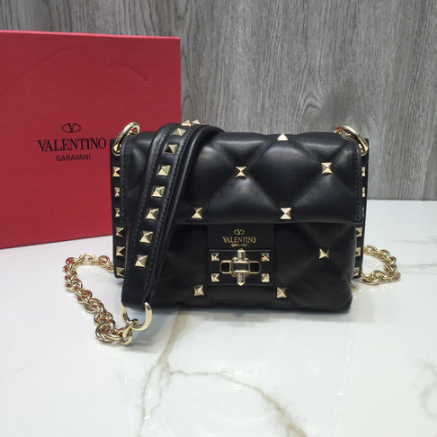 2018 F/W Valentino Candystud Mini Shoulder Bag in Black Leather