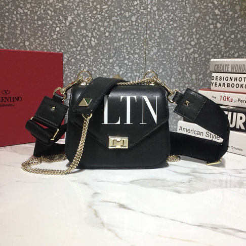 2018 Valentino VLTN Small Shoulder Strap Saddle Bag in Black Calfskin Leather
