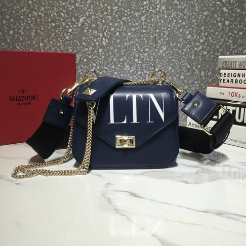 2018 Valentino VLTN Small Shoulder Strap Saddle Bag in Dark Blue Calfskin Leather