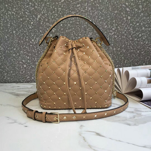 2018 S/S Valentino Rockstud Spike Medium Bucket Bag in soft lambskin leather
