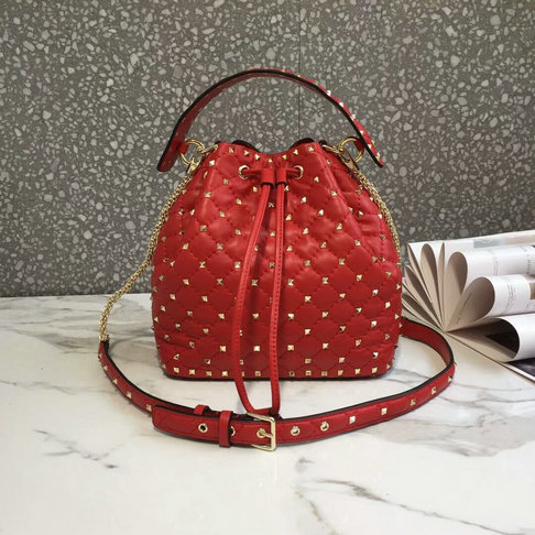 2018 S/S Valentino Rockstud Spike Medium Bucket Bag in red lambskin leather