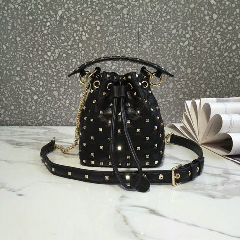 2018 S/S Valentino Rockstud Spike Small Bucket Bag in black lambskin leather