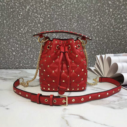 2018 S/S Valentino Rockstud Spike Small Bucket Bag in red lambskin leather