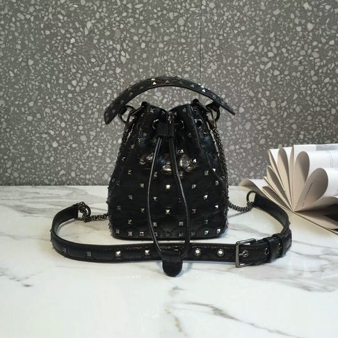 2018 S/S Valentino Rockstud Spike Small Bucket Bag in black crackle lambskin leather