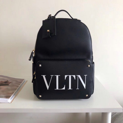 2018 New Valentino Rockstud VLTN Print Mini Backpack in Black