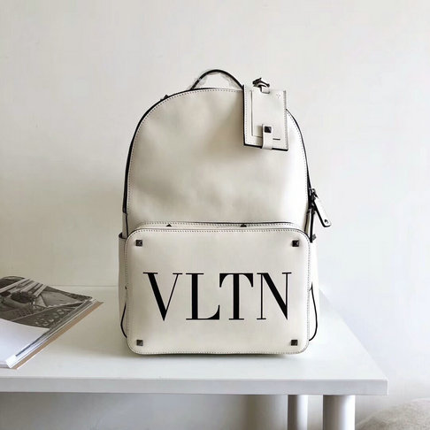 2018 New Valentino Rockstud VLTN Print Mini Backpack in White