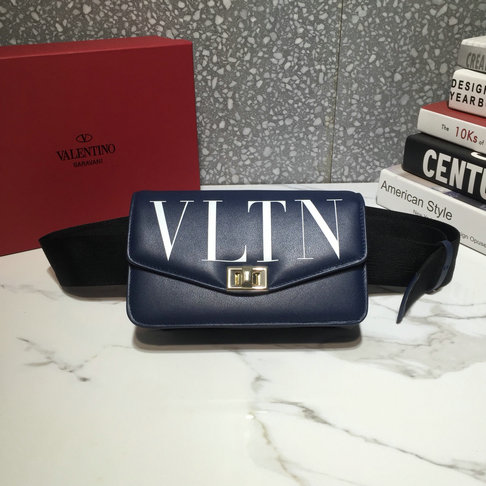 2018 Valentino VLTN Logo Belt Bag in Dark Blue Calf Leather