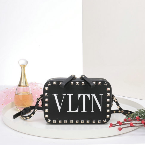 2018 S/S Valentino Rockstud Camera Bag in Black VLTN Print Calf Leather