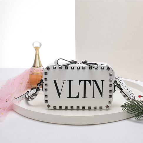 2018 S/S Valentino Rockstud Camera Bag in White VLTN Print Calf Leather