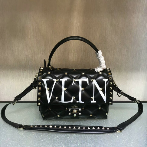 2018 S/S Valentino VLTN Print Candystud Single Handle Bag in Black lambskin leather