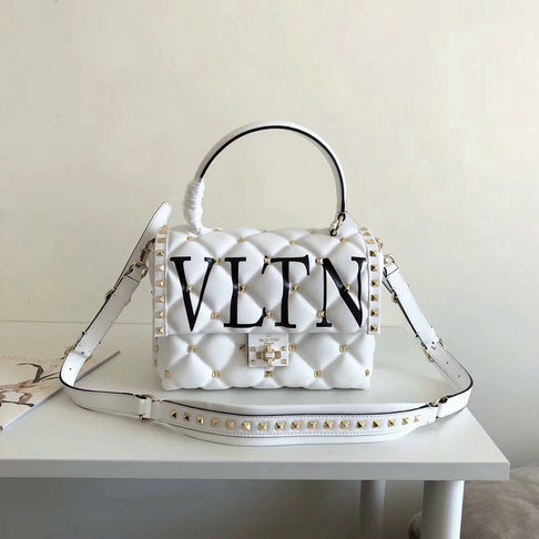 2018 S/S Valentino VLTN Print Candystud Single Handle Bag in White lambskin leather