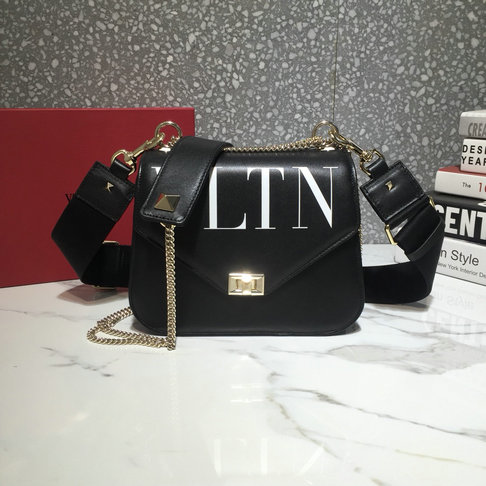 2018 Valentino VLTN Shoulder Strap Saddle Bag in Black Calfskin Leather
