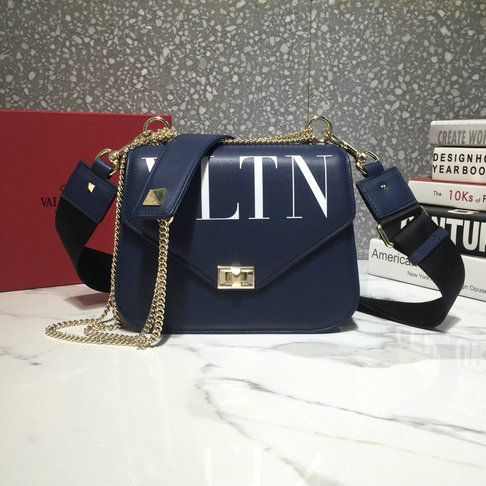 2018 Valentino VLTN Shoulder Strap Saddle Bag in Dark Blue Calfskin Leather