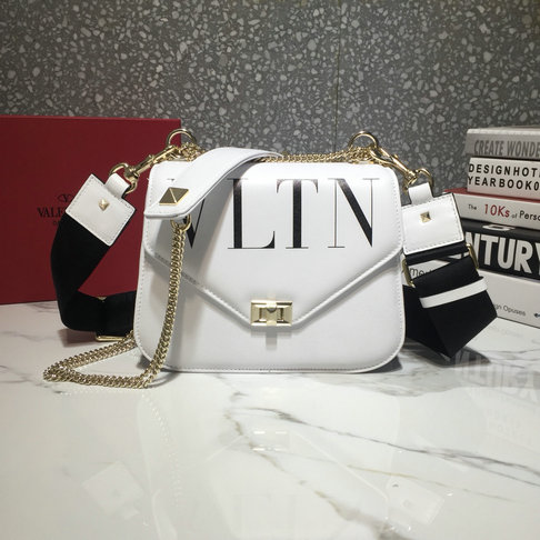 2018 Valentino VLTN Shoulder Strap Saddle Bag in White Calfskin Leather