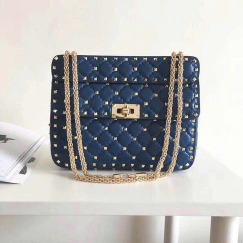 2018 S/S Valentino Garavani Rockstud Spike Medium Bag in Dark Blue Leather