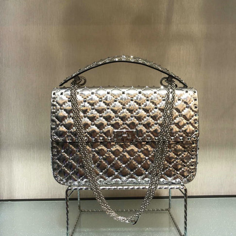 2018 S/S Valentino Garavani Rockstud Spike Large Bag in Silver Crackle Lambskin Leather