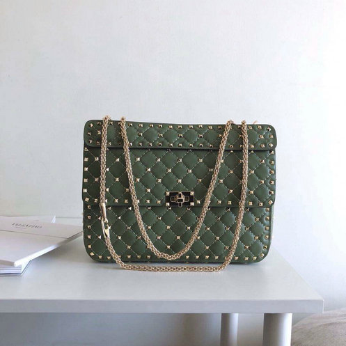 2018 S/S Valentino Garavani Rockstud Spike Large Bag in Green Lambskin Leather