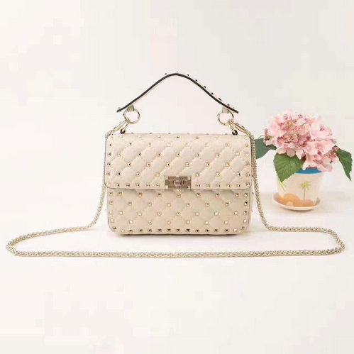 2018 S/S Valentino Garavani Rockstud Spike Medium Bag in Ivory Leather