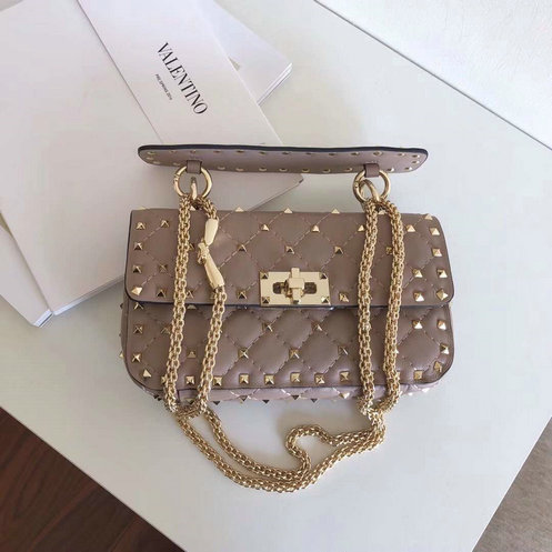 2018 S/S Valentino Garavani Rockstud Spike Small Bag in Poudre Leather