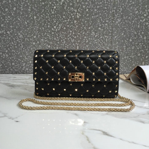2019 Valentino Leather Clutch Bag in Black
