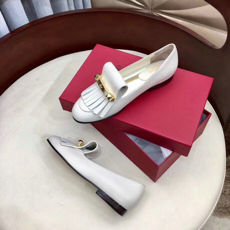 2019 Valentino Fringe Moccasin in White Leather