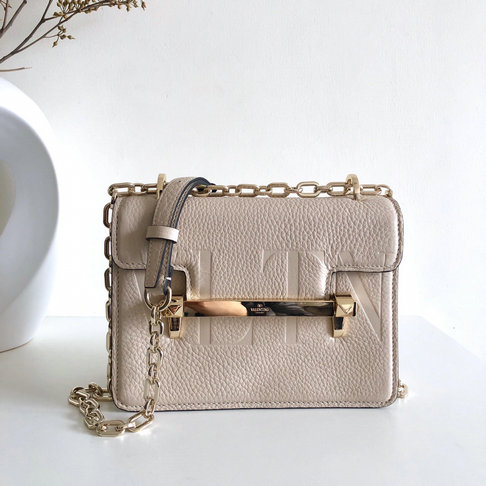 2019 Valentino Small VLTN Uptown Shoulder Bag in Ivory Grainy Leather