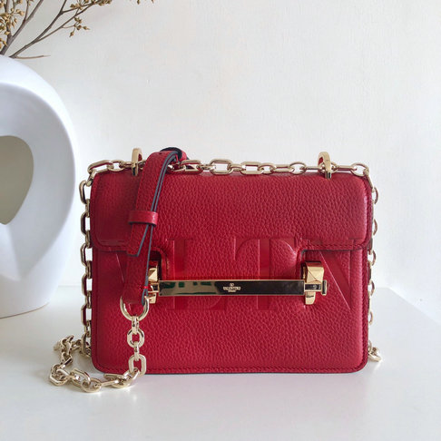 2019 Valentino Small VLTN Uptown Shoulder Bag in Red Grainy Leather