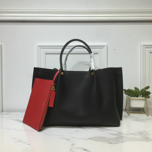 2019 Valentino Medium VLOGO Escape Grainy Calfskin Shopper in Black