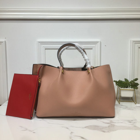 2019 Valentino Medium VLOGO Escape Grainy Calfskin Shopper in Nude