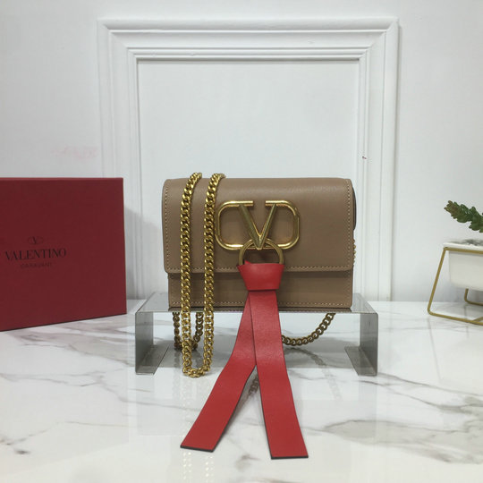 2019 Valentino Mini Vring Chain Bag in Brown Leather