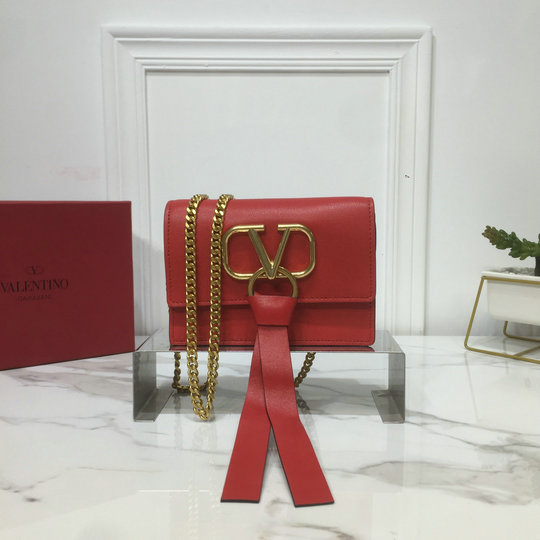 2019 Valentino Mini Vring Chain Bag in Red Leather