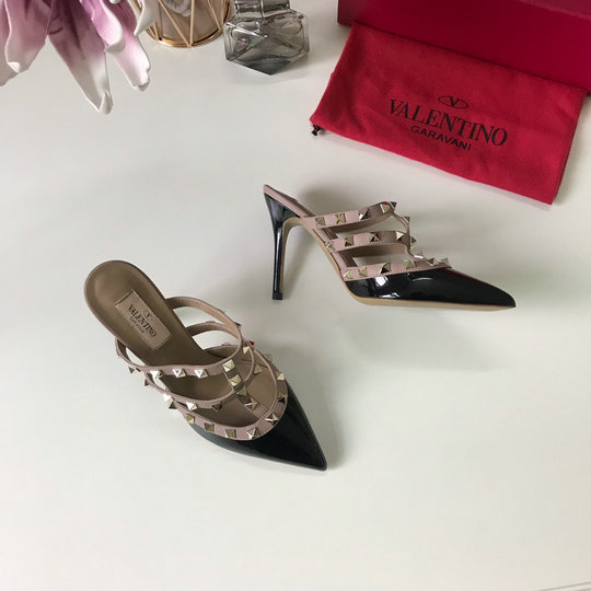 2019 Valentino Rockstud 9.5cm Mules in Patent Leather