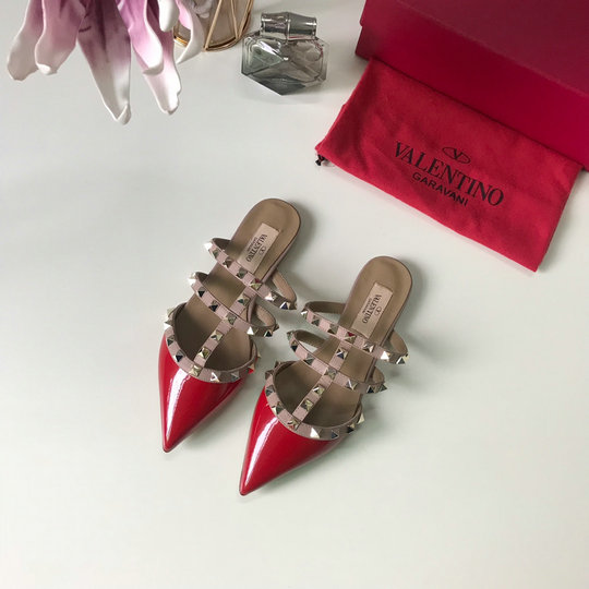 2019 Valentino Rockstud Backless Point-toe Flats in Red Patent Leather