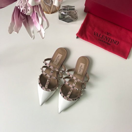 2019 Valentino Rockstud Backless Point-toe Flats in White Patent Leather