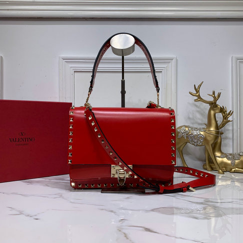 2019 Valentino Rockstud Crossbody Bag in Red Smooth Calfskin Leather