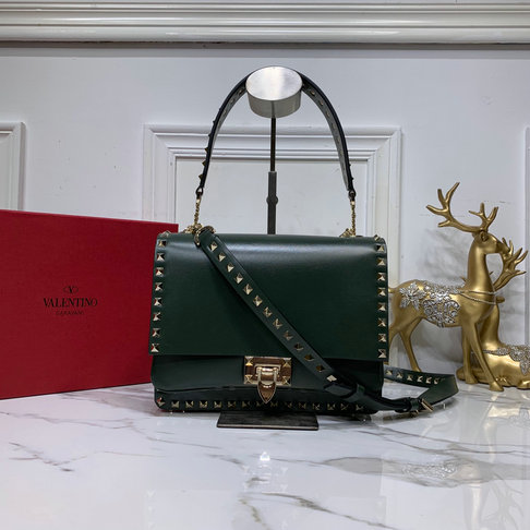 2019 Valentino Rockstud Crossbody Bag in Dark Green Smooth Calfskin Leather
